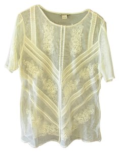 Lucky Brand Lace Embroidered Embroidery Top Ivory