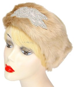 Crystal Accent Stretchable Fur Headband Earmuff