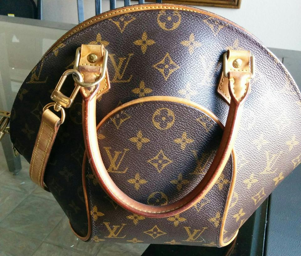48fc61adf435 Louis Vuitton Ellipse Bowling Ball Style Brown Monogram Leather Tote ...