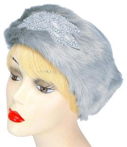 Other Gray Fur Crystal Accent Motif Stretchable Winter Headband Earmuff