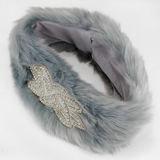 Other Gray Fur Crystal Accent Motif Stretchable Winter Headband Earmuff Image 1