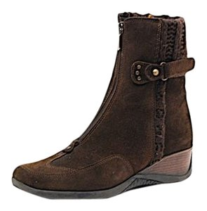 Aquatalia by Marvin K. Chocolate Wedge Knit Top Brown Boots
