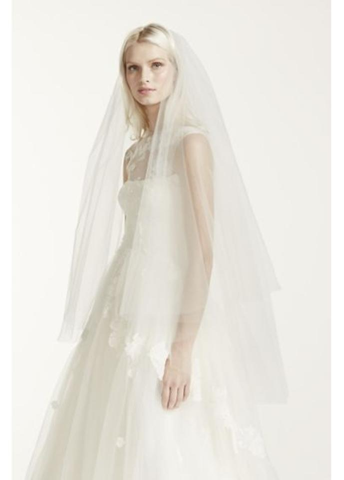 0a1ce7a30175 Vera Wang Ivory Long David's Two-tier Cathedral Length with Raw Edge Style  Vw370024 Bridal. 12345