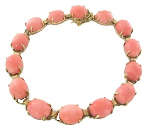 Other 14KT SOLID YELLOW GOLD BRACELET PEACH COLOR CORAL 15.5 GRAMS ANTIQUE ESTATE