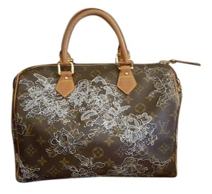 Louis Vuitton Satchel in monogram, silver emboridery, brown