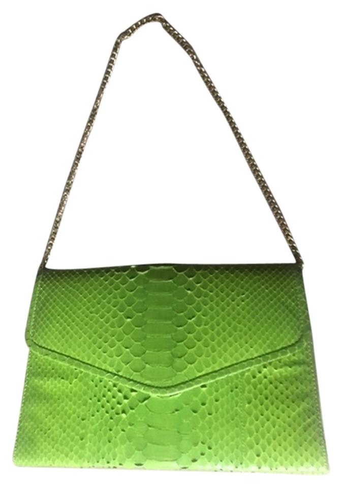 Lime Green Snakeskin Clutch