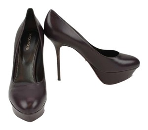 Sergio Rossi Leather Aubergine (Eggplant) Pumps
