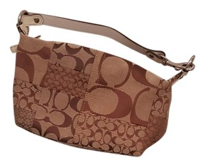 Coach Tote in Brown and white