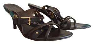 Gucci Leather Stud Heels brown Sandals