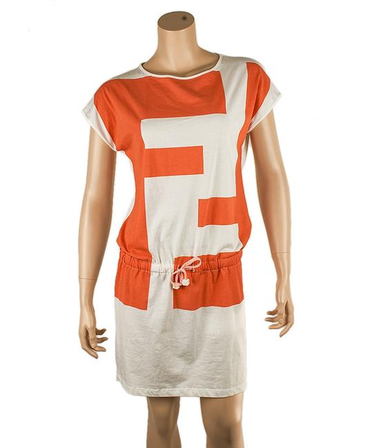 Item - Orange & White Cotton (53849) Knee Length Short Casual Dress Size 12 (L)