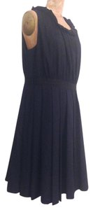 J.Crew Work Wool Pleated Navy Wool Dress
