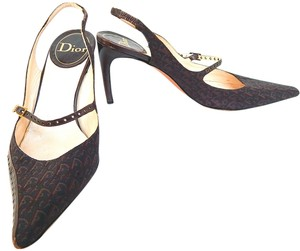 Dior Mary Jane Slingback Canvas Leather Monogram Brown Pumps