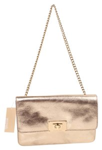 MICHAEL Michael Kors Leather Evening Gold Clutch