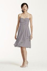 David's Bridal Mercury Short Crinkle Chiffon Dress With Front Cascade Style F14847 Dress