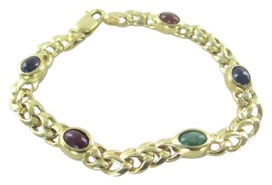 Other 14KT SOLID YELLOW GOLD BRACELET MULTI COLOR STONE SAPPHIRE 12.5 GRAMS NO SCRAP