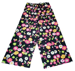 Wrap Singapore Style Relaxed Pants Black with Bright Flowers