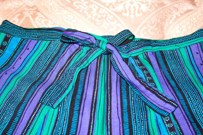 Other Wrap Singapore Style Adjustable Handmade Relaxed Pants Blue, green, purple striped Image 1
