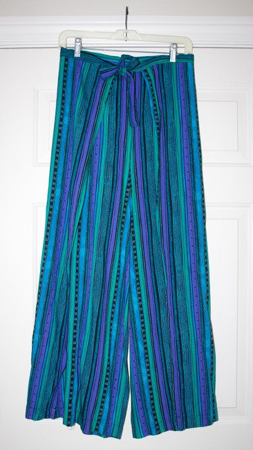 Other Wrap Singapore Style Adjustable Handmade Relaxed Pants Blue, green, purple striped Image 3