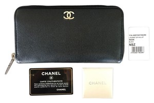 Chanel Chanel Zip Wallet in Black Caviar Leather