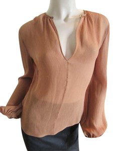Versace Gianni Silk Peasant Silk Silk Peasant Top Brown