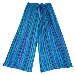 Wrap Singapore Style Relaxed Pants Blue, Green, Purple striped