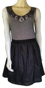8c072886de2d Gianni Bini short dress Black Beading Silk Gray Jersey Tie Backs Pull-on on  Tradesy