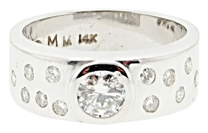 Wholesale - must see - Designer unisex 14k 1/2 ct center bezel set diamond with 1/4 ct tw diamond ring