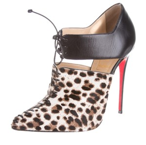 Christian Louboutin Beige Black Brown Multicolor Ponyhair Leather Stiletto Pointed Toe Pump 37 7 Animal Print Animal Print Embellished Black, Multicolor Boots