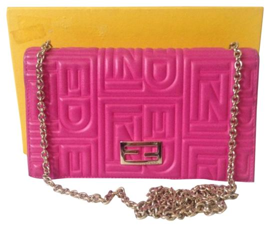 Fendi Authentic Fendi Embossed Nappa Leather Wallet With Chain