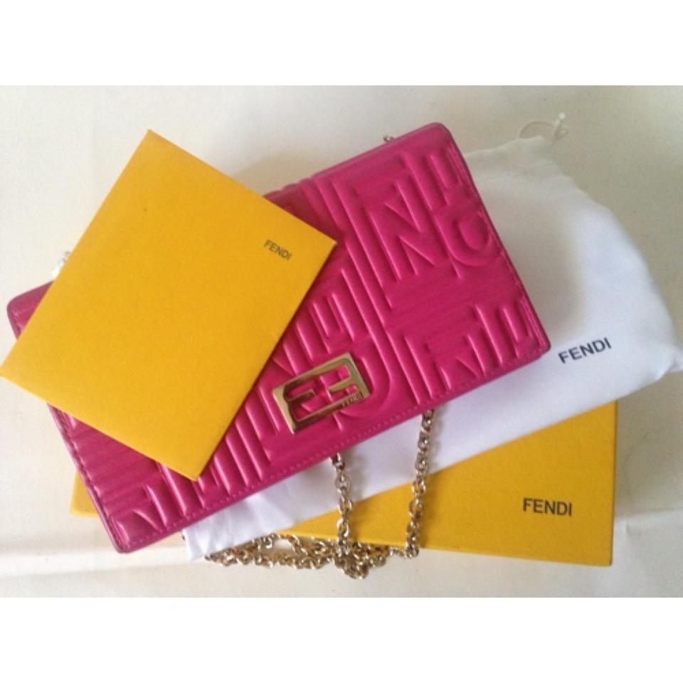 44db3c1c27 Fendi Pink Embossed Nappa Leather with Chain Wallet - Tradesy