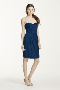 David's Bridal Marine (Navy) Strapless Stain Short Dress With Pleating Style Dress