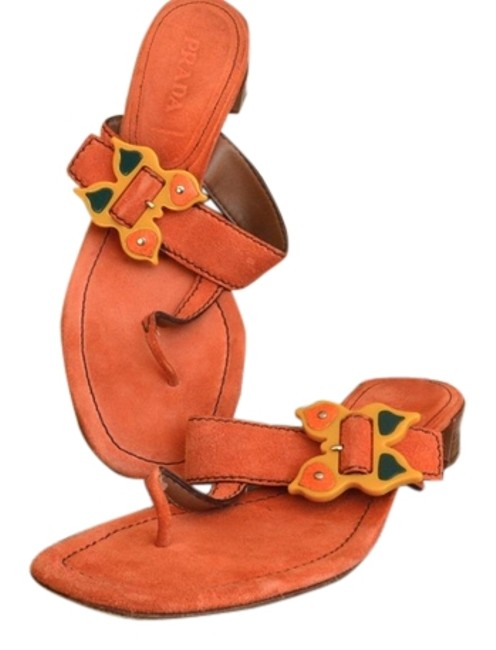Item - Orange Suede Butterfly Buckle 40 Sandals Size US 10