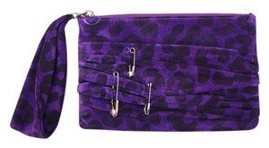 Henri Bendel New Suede Animal Print Ruched Pin Zip Clutch Wristlet in Purple