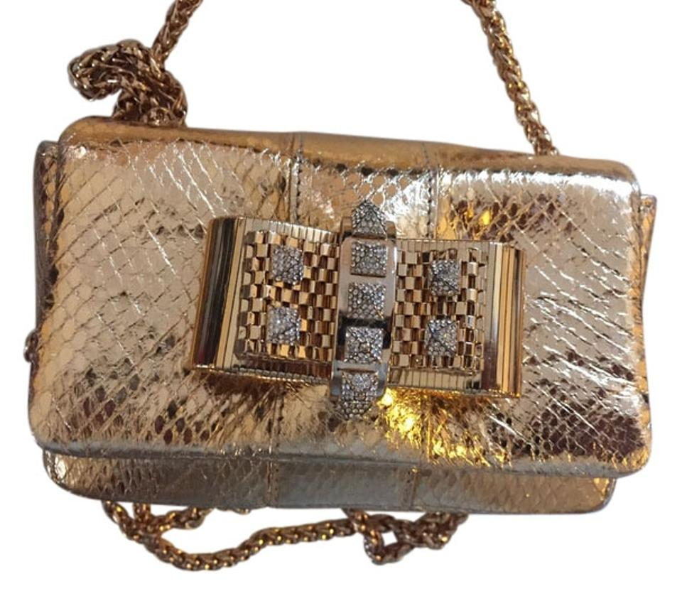 best authentic 0a4a5 3034f Christian Louboutin Charity Small Gold Snake Leather Cross Body Bag 27% off  retail