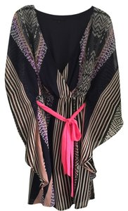 Jealous Tomato Boho Bohemian Hippie Kimono Top Blue, purple and grey print with Pink belt