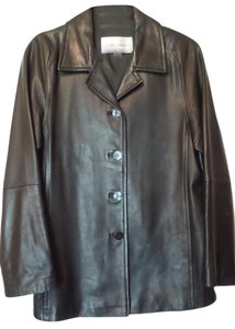 Ellen Tracy Medium Leather Jacket Timeless Trench Coat