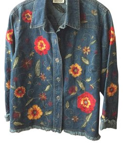 Chico's Denim with red and green. Womens Jean Jacket