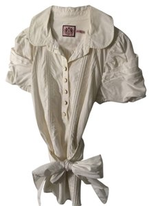 Juicy Couture Work Blouse Button Down Shirt Ivory white