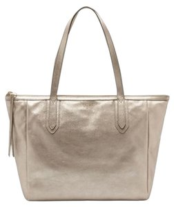 Fossil Leather Tote in Metallic Gold