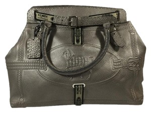 Fendi Selleria Tote Pebbled Leather Satchel in Silver