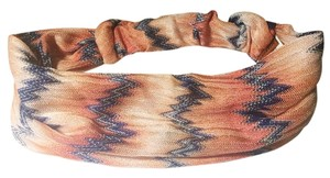 Missoni Missoni Flamestitch Knit Headband in Orange, Blush and Navy