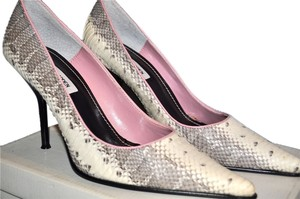 Steve Madden Reptile Embossed Leather White, grey Pumps