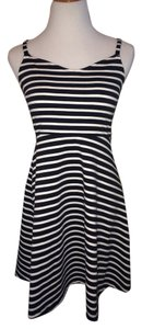 Old Navy short dress black and white Cocktail Above Knee Fit Flare A Line Striped V Neck Sleeveless Straps on Tradesy