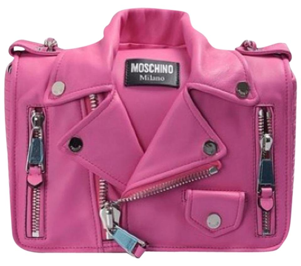 0d78e8b88b488 Moschino Biker Jacket Pink Leather Shoulder Bag - Tradesy