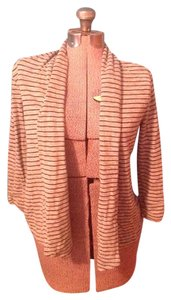 Theory Stripes Soft Cotton Polyester Petite Cardigan