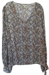 Lucky Brand Oversized Stretchy Large Knit Reptile Top Off-White, Grey, Brown