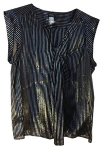 J.Crew Sheer Metallic Silk Top Navy