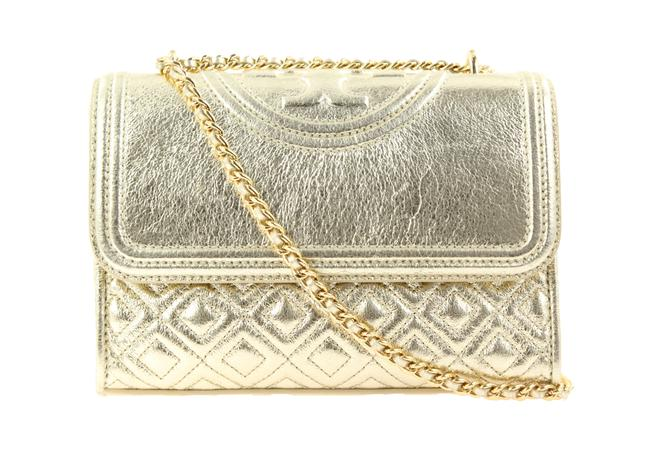 Item - Fleming Small Convertible Gold Leather Shoulder Bag