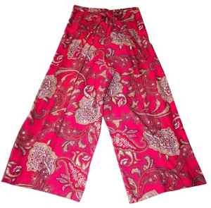 Other Handmade In Usa Paisley Wrap Singapore Style Adjustable Relaxed Pants Scarlet Paisley