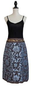 Neesh by D.A.R. Skirt Blue and Brown Scrolling Print